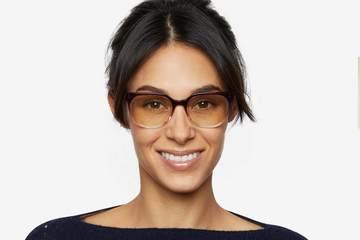 Kelvin sleepglasses in gamay fade on female model viewed from front