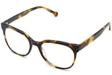 Kelvin eyeglasses in whiskey tortoise viewed from angle