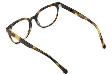 Kelvin eyeglasses in whiskey tortoise viewed from rear