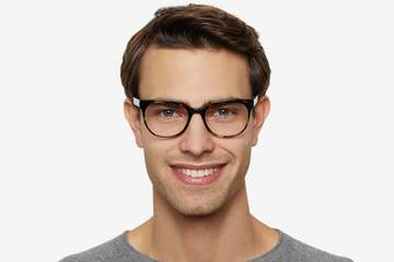 Kelvin eyeglasses in whiskey tortoise on male model viewed from front