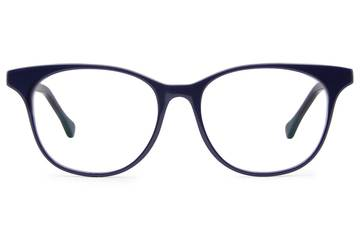 Lovelace eyeglasses in cayuga blue viewed from front