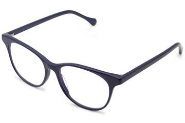 Lovelace eyeglasses in cayuga blue viewed from angle