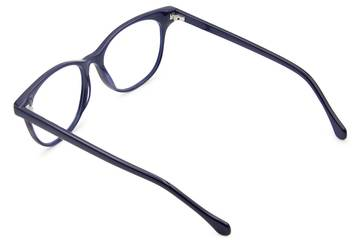 Lovelace eyeglasses in cayuga blue viewed from rear