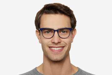 Lovelace eyeglasses in cayuga blue on male model viewed from front