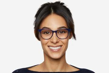 Lovelace eyeglasses in cayuga blue on female model viewed from front