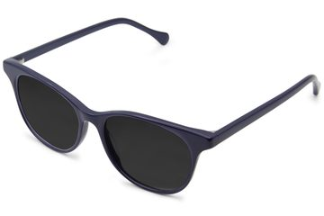 Lovelace sunglasses in cayuga blue viewed from angle