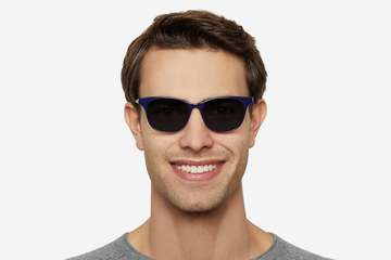 Lovelace sunglasses in cayuga blue on male model viewed from front
