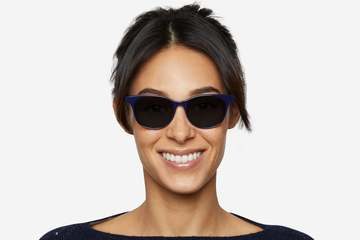 Lovelace sunglasses in cayuga blue on female model viewed from front
