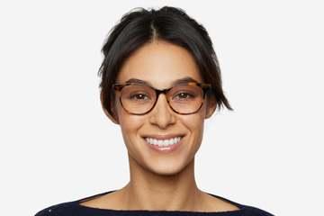 Lovelace eyeglasses in serengeti on female model viewed from front