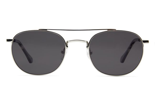 Fermat sunglasses in silver viewed from front