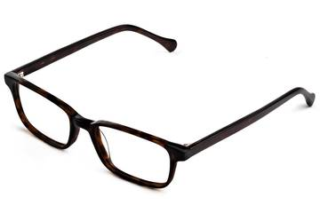 Carver LBF eyeglasses in mahogany viewed from angle