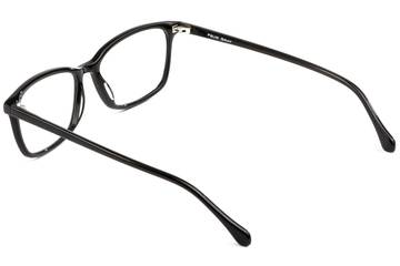 Faraday LBF eyeglasses in black viewed from rear