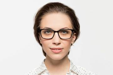 Faraday LBF eyeglasses in black on female model viewed from front