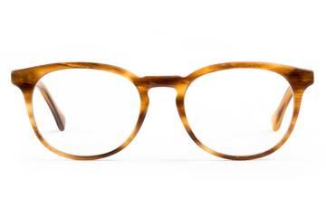 Roebling LBF eyeglasses in amber toffee viewed from front