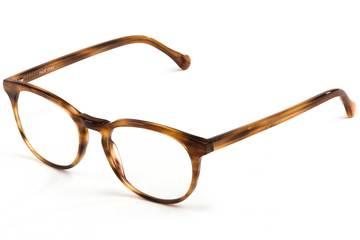 Roebling LBF eyeglasses in amber toffee viewed from angle