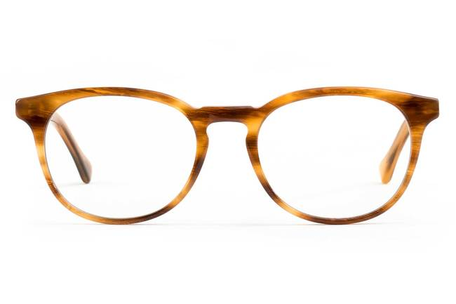 Roebling LBF eyeglasses in amber toffee viewed from front