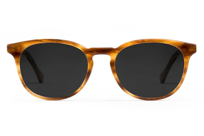 Roebling LBF sunglasses in amber toffee viewed from front