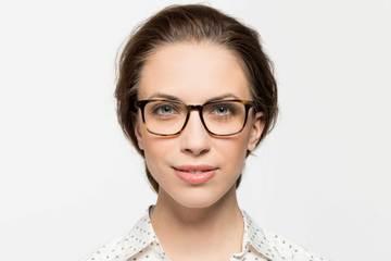 Nash LBF eyeglasses in whiskey tortoise on female model viewed from front