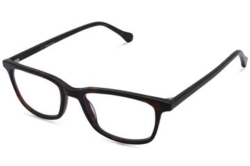 Faraday K2 eyeglasses in mahogany viewed from angle