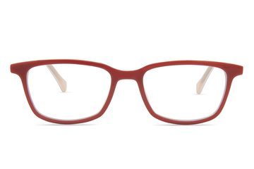 Faraday K1 eyeglasses in ruby red viewed from front