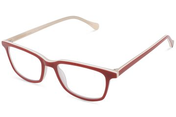 Faraday K1 eyeglasses in ruby red viewed from angle