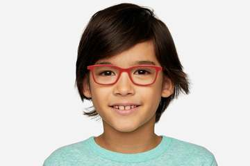 Faraday K1 eyeglasses in ruby red on male model viewed from front