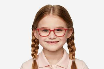Faraday K1 eyeglasses in ruby red on female model viewed from front