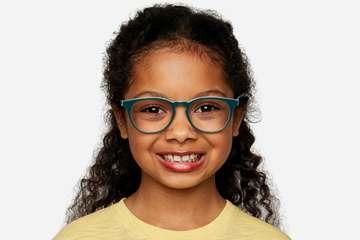 Roebling K2 eyeglasses in spearmint on female model viewed from front