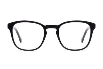 Tole eyeglasses in black viewed from front