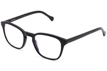 Tole eyeglasses in black viewed from angle