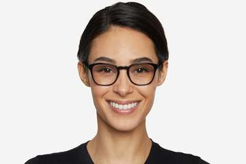 Tole eyeglasses in black on female model viewed from front