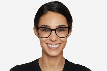 Volta eyeglasses in black on female model viewed from front