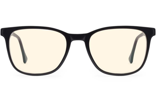 Volta sleepglasses in black viewed from front