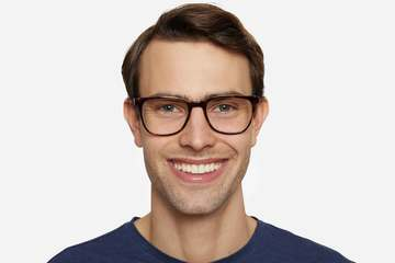 Volta eyeglasses in sazerac on male model viewed from front
