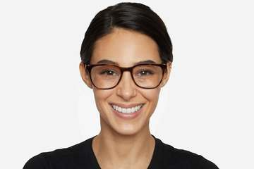 Volta eyeglasses in sazerac on female model viewed from front