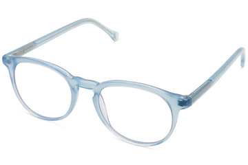 Roebling eyeglasses in seneca mist viewed from angle