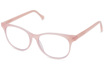 Lovelace eyeglasses in rose mallow viewed from angle