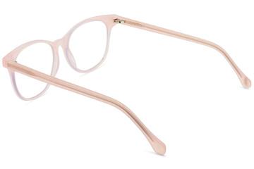 Lovelace eyeglasses in rose mallow viewed from rear
