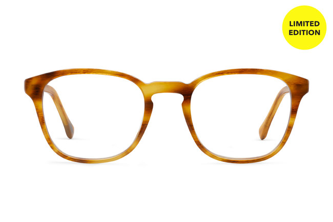 Tole eyeglasses in amber toffee viewed from front