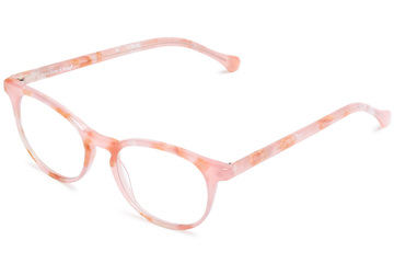 Roebling eyeglasses in rose quartz viewed from angle