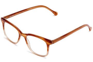 Hopper eyeglasses in cedar viewed from angle