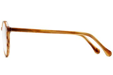 Franklin eyeglasses in amber toffee viewed from side