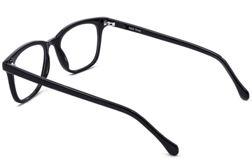 Hopper eyeglasses in black viewed from angle