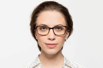 Faraday eyeglasses in sazerac on female model viewed from front