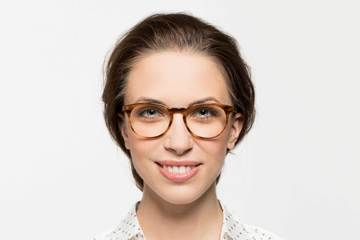 Roebling eyeglasses in amber toffee on female model viewed from front