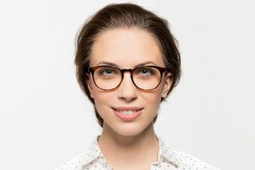 Roebling eyeglasses in sazerac crystal on female model viewed from front