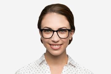 Hopper eyeglasses in black on female model viewed from front