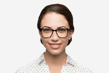 Hopper eyeglasses in sazerac on female model viewed from front