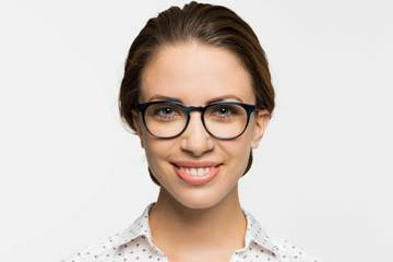 Roebling eyeglasses in midnight surf on female model viewed from front