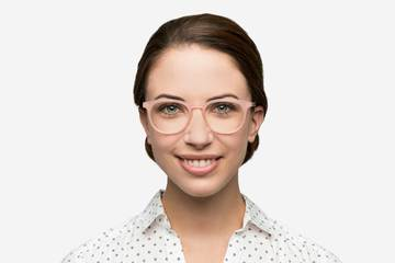 Roebling eyeglasses in rose mallow on female model viewed from front